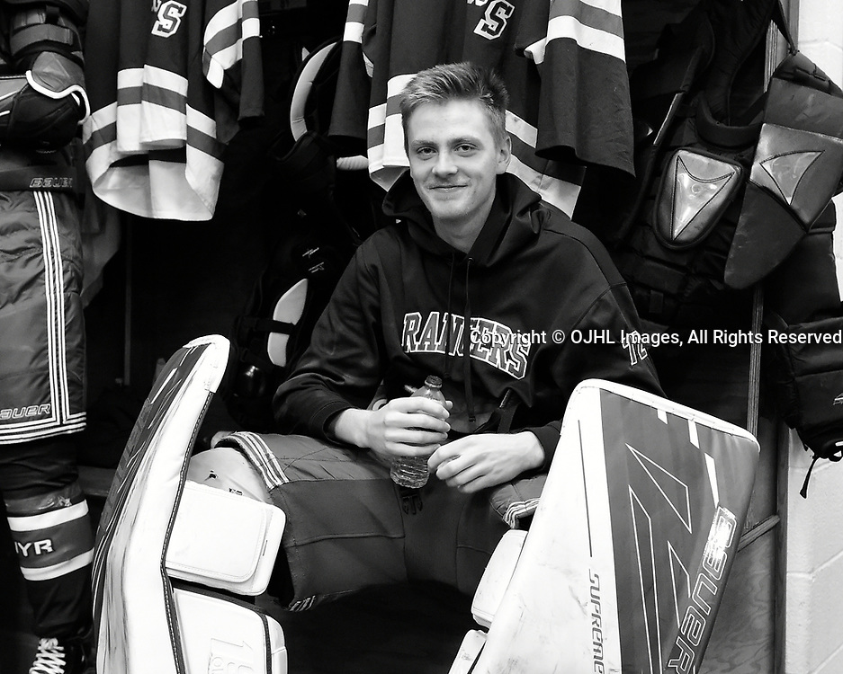 NORTH YORK, ON  - NOV 26,  2017: Ontario Junior Hockey League game between the North York Rangers and the Mississauga Chargers, Jett Alexander #72 of the North York Rangers before the game.<br /> (Photo by Andy Corneau / OJHL Images)