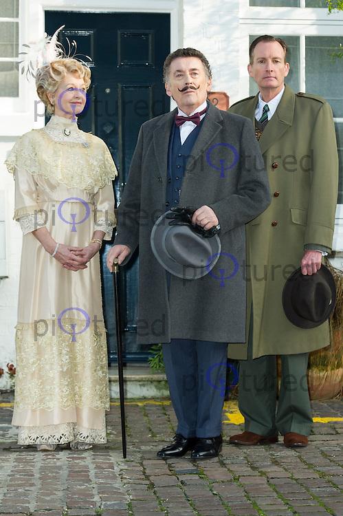 Liza Goddard, Robert Powell, Robin McCallum, Agatha Christie: Black Coffee - Photocall, 22 Cresswell Place, London UK (Former home of Agatha Christie), 10 January 2014, Photo by Raimondas Kazenas
