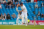 England Captain & Essex Batsman Alastair Cook  with a forward defensiveshot during the Investec Test Series 2016 match between England and Sri Lanka at Headingly Stadium, Leeds, United Kingdom on 19 May 2016. Photo by Simon Davies.
