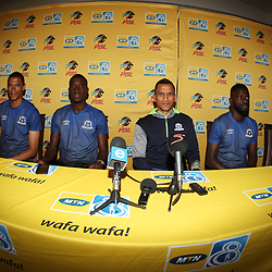 Fadlu Davids (Head Coach) of Maritzburg Utd with some of his players during the MTN8 semi-final 2nd-leg Press Conference with the Head Coach and Selected players United,Harry Gwala Stadium in  Pietermaritzburg. 7th September -2017 (Photo by Steve Haag)