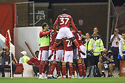Nottingham Forest celebrate João Carvalho's (10) goal during the EFL Cup match between Nottingham Forest and Derby County at the City Ground, Nottingham, England on 27 August 2019.