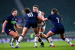 Abbie Scott of England Women is tackled by Helen Nelson of Scotland Women - Mandatory by-line: Robbie Stephenson/JMP - 16/03/2019 - RUGBY - Twickenham Stadium - London, England - England Women v Scotland Women - Women's Six Nations