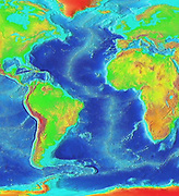 Satellite thermographic image of the Atlantic Ocean showing coldest areas in Arctic, Antarctic and high Andes as bright orange. National Oceanic and Atmospheric Administration (NOAA). Science