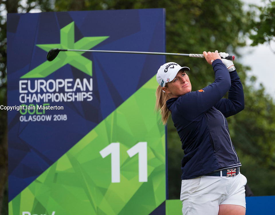 Gleneagles, Scotland, UK; 8 August, 2018.  European Championships 2018. Day one of golf competition at Gleneagles..Men's and Women's Team Championships Round Robin Group Stage - 1st Round. Four Ball Match Play format. Match 13 Great Britain 2 v Sweden 1 Ladies. Catriona Matthew and Holly Clyburn won 3 and 2. Holly Clyburn  tees off on the 11th hole