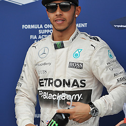 Lewis Hamilton, Mercedes AMG Petronas F1 Team after getting pole position.<br /> Round 1 - Third day of the 2015 Formula 1 Rolex Australian Grand Prix at The circuit of Albert Park, Melbourne, Victoria on the 14th March 2015.<br /> Wayne Neal | SportPix.org.uk