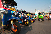 Tuk-tuks at Chatuchak Weekend Market in Bangkok, Thailand.