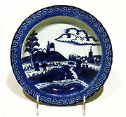 Japanese Edo Period plate with a Dutch scene. Porcelain with glaze. 1615 - 1868