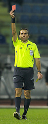 San Marino, San Marino - Wednesday, October 17, 2007: Referee Anthony Zammit of Malta shows the red card to San Marino's Nicola Albani during the Group D UEFA Euro 2008 Qualifying match against Wales at the Serravalle Stadium. (Photo by David Rawcliffe/Propaganda)