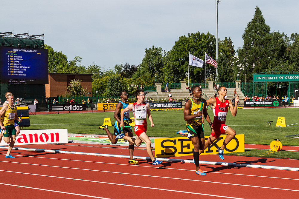 mens 4x400 relay, Manley, Jamaica, Brown, USA