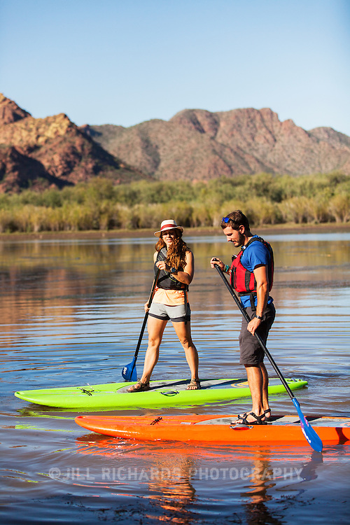 Arizona Outback Adventures guides stand-up paddle board on the lower Salt River.