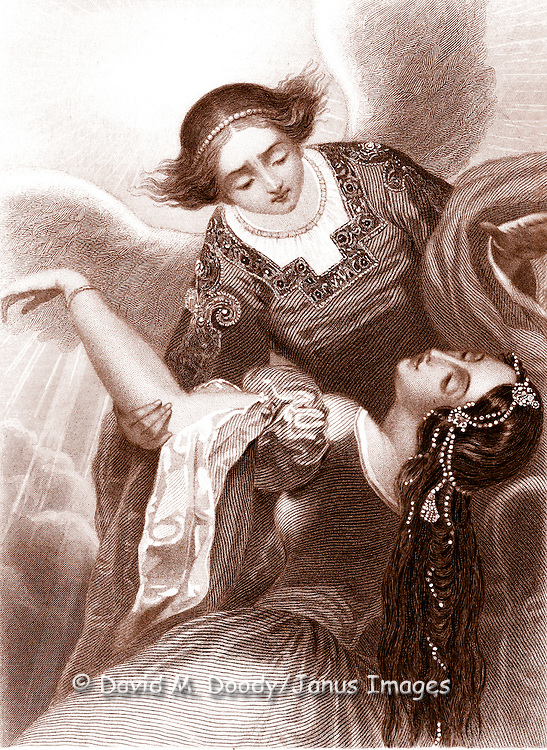 """""""Seal"""" by A De Valentine 19th century engraving of a woman in the arms of an angel with wings out wide"""
