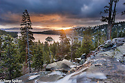 """""""Sunrise at Emerald Bay"""" - An early spring sunrise at Emerald Bay with Eagle Falls in the foreground"""