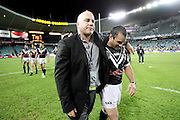 Bluey McClennan and Stacey Jones leave the field at the Gillette Tri Nations rugby league final between Australia and New Zealand at Aussie Stadium, Sydney, on Saturday 25 November 2006. Photo: Andrew Cornaga/PHOTOSPORT<br />