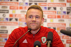 TIRANA, ALBANIA - Monday, November 19, 2018: Wales' Chris Gunter during a press conference at the Tirana International Hotel ahead of the International Friendly match between Albania and Wales. (Pic by David Rawcliffe/Propaganda)