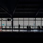 Train station during rush hour in Bangkok, Thailand.