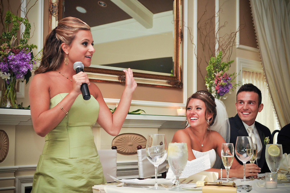 Michelle's sister gives a toast  to the newly weds at St. Charles Country Club, St. Charles, IL