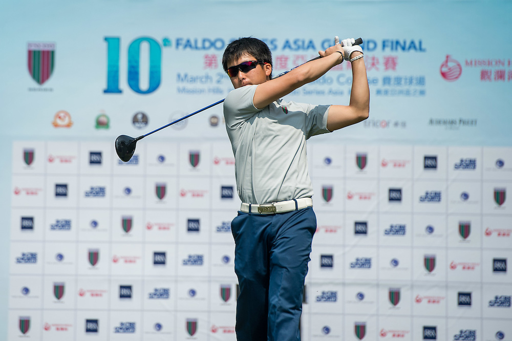 Ryo Katsumata of Japan in action during day one of the 10th Faldo Series Asia Grand Final at Faldo course in Shenzhen, China. Photo by Xaume Olleros.
