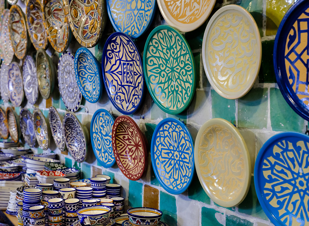 FEZ, MOROCCO - CIRCA APRIL 2017:  Traditional Moroccan plates made of ceramic in a gift shop