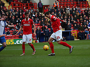 Charlton Athletic defender, Harry Lennon (26) scoring opening goal, (first) during the Sky Bet Championship match between Charlton Athletic and Blackburn Rovers at The Valley, London, England on 23 January 2016. Photo by Matthew Redman.