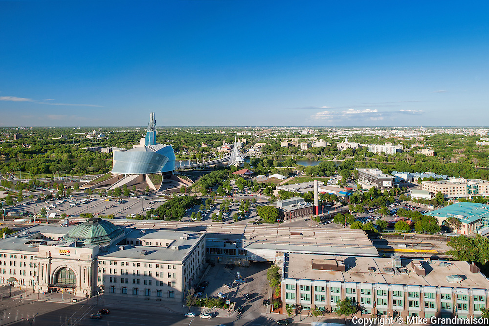 Aerial view of Winnipeg City looking eastward with Winnipeg train station and Northwest Company in front and the Canadian Museum for Human Rights <br /> Winnipeg<br /> Manitoba<br /> Canada