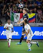 San Jose Earthquakes midfielder Florian Jungwirth (23) heads the ball during an MLS soccer match against the LAFC. The LAFC defeated the San Jose Earthquakes 4-0 on Wednesday, Aug. 21, 2019, in Los Angeles. (Ed Ruvalcaba/Image of Sport)