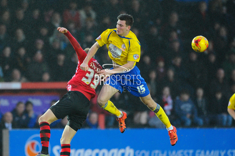 Exeter City's Jayden Stockley and Accrington Stanley's Joe Wright during the Sky Bet League 2 match between Exeter City and Accrington Stanley at St James' Park, Exeter, England on 23 January 2016. Photo by Graham Hunt.