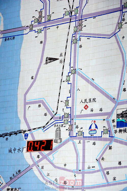Detail of the monitoring screen in the Water Supply dispatching center of Liuzhou Veolia Water