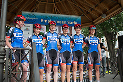 Team WNT riders stand on the sign-on podium of the Durango-Durango Emakumeen Saria - a 113 km road race, starting and finishing in Durango on May 16, 2017, in the Basque Country, Spain.