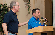 Boston Marathon race director Dave  McGillivray, right, speaks at a special meeting of the  Orange Runners Club at Kuhl's Highland House in MIddletown, New York, on March 4, 2015. Frank Giannino, CEO of the Classic 10K, is on the left.