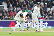 Ben Stokes of England dives for an edge from Marnus Labuschagne of Australia which gets past him during the International Test Match 2019, fourth test, day one match between England and Australia at Old Trafford, Manchester, England on 4 September 2019.