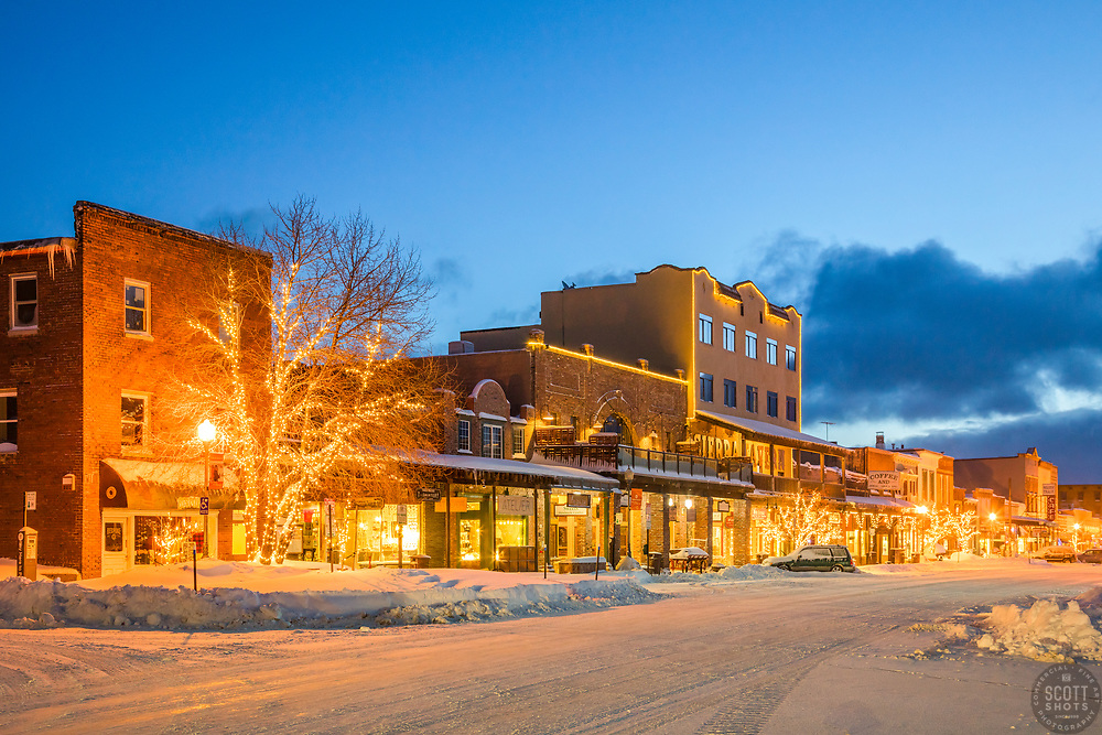 """Downtown Truckee 55"" - Photograph of historic Downtown Truckee, California shot right after a snow storm."