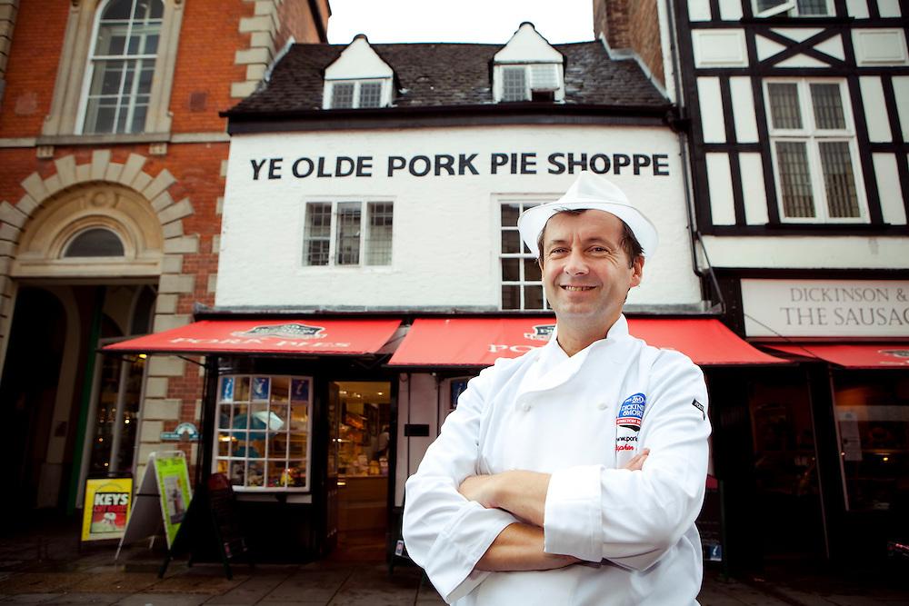 Master Baker, Stephen Hallam outside Ye Olde Pork Pie Shoppe, Melton Mowbray