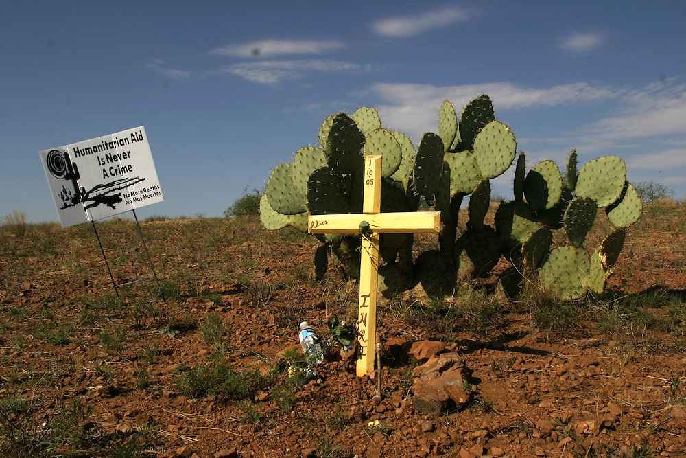 A cross marks the place on July 15 2006 where the body of an undocumented immigrant was found in the Arizona desert near the town of Arvaka.