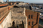 Jacob's Ladder steps that overlooks the town of Ramsgate, on 8th January 2019, in Ramsgate, Kent, England. The Port of Ramsgate has been identified as a 'Brexit Port' by the government of Prime Minister Theresa May, currently negotiating the UK's exit from the EU. Britain's Department of Transport has awarded to an unproven shipping company, Seaborne Freight, to provide run roll-on roll-off ferry services to the road haulage industry between Ostend and the Kent port - in the event of more likely No Deal Brexit. In the EU referendum of 2016, people in Kent voted strongly in favour of leaving the European Union with 59% voting to leave and 41% to remain.