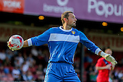 Ross Turnbull during the Friendly match between York City and Leeds United at Bootham Crescent, York, England on 15 July 2015. Photo by Simon Davies.