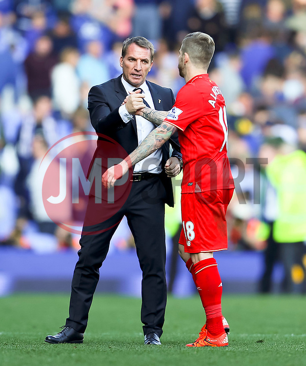 Liverpool Manager, Brendan Rodgers shakes hands with Alberto Moreno  - Mandatory byline: Matt McNulty/JMP - 07966 386802 - 04/10/2015 - FOOTBALL - Goodison Park - Liverpool, England - Everton  v Liverpool - Barclays Premier League