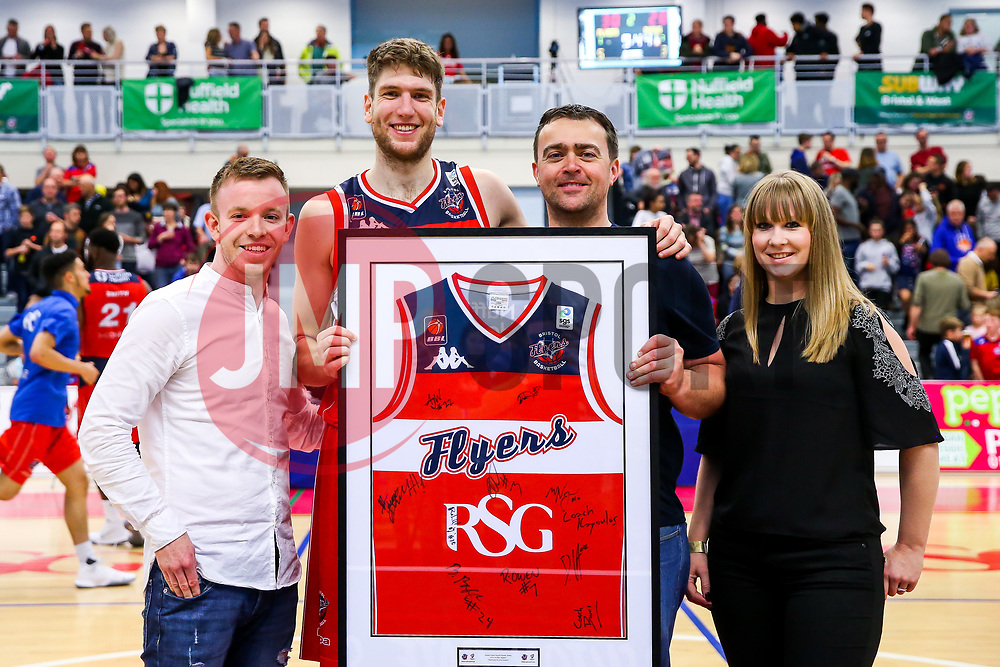 Mike Vigor of Bristol Flyers with match sponsor Dough Ballers - Rogan/JMP - 11/11/2017 - BASKETBALL - SGS Wise Arena - Bristol, England. - Bristol Flyers v Glasgow Rocks - British Basketball League.
