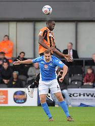Barnets Bondz N'Gala, Beats Eastleighs Jamie Collins to the Ball, Barnet v Eastleigh, Vanarama Conference, Saturday 4th October 2014