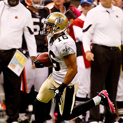 Oct 24, 2010; New Orleans, LA, USA; New Orleans Saints wide receiver Lance Moore (16) against the Cleveland Browns during the first half at the Louisiana Superdome. Mandatory Credit: Derick E. Hingle