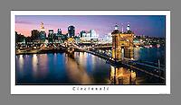 19x36 Printed Poster of Roebling Bridge at Twilight with Cincinnati Skyline