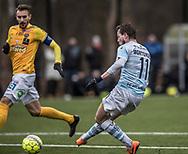 FODBOLD: Nicolas Mortensen (FC Helsingør) scorer til 2-0 under træningskampen mellem FC Helsingør og Falkenbergs FF den 20. januar 2018 på Snekkersten Idrætscenter. Foto: Claus Birch