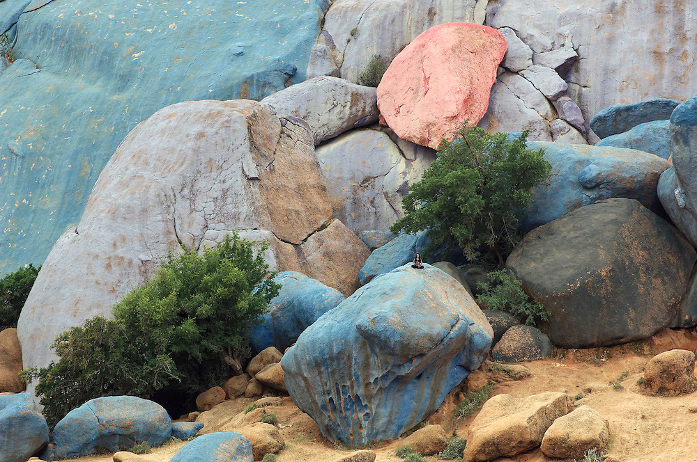 Blue painted Rocks, Blue Rocks,The world famous blue rocks of Tafraoute, Morocco, painted in 1984 by Belgian artist Jean Verane. Verane used about15 tons of paint on this massive project,Aguerd Oudad near Tafraoute, Morocco