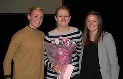 Bristol Academy's Sophie Ingle and Loren Dykes present a gift to a club staff member - Photo mandatory by-line: Paul Knight/JMP - Mobile: 07966 386802 - 11/10/2015 - Sport - Football - Bristol - Stoke Gifford Stadium - Bristol Academy WFC End of Season Awards 2015