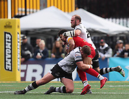 Richard Whiting and Jake Emmitt of Toronto Wolfpack  tackle Kieran Dixon of London Broncos during the Super 8s Qualifiers Million Pound Game at Lamport Stadium, Toronto, Canada<br /> Picture by Stephen Gaunt/Focus Images Ltd +447904 833202<br /> 07/10/2018