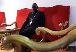 Cardinal Robert Sarah of Guinea in his office at the Vatican on September 28, 2016. He is the prefect of the Congregation for Divine Worship and the Discipline of the Sacraments. Highest authority on liturgical matters in the Church he recently appealed to the priests to face East during their liturgical celebrations. He is the author of the books God Or Nothing: A Conversation On Faith and La Force Du Silence (in French). The cardinal from a remote African village has become a standard bearer for Catholic orthodoxy and has emerged as a serious papabile. Photo by Eric Vandeville/ABACAPRESS.COM