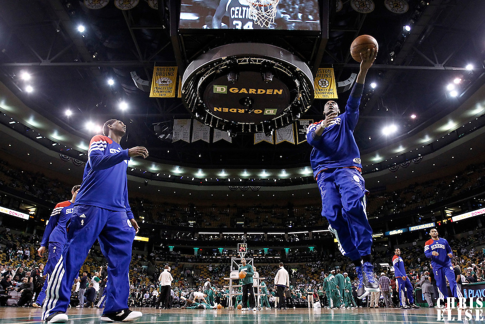 14 May 2012:  Philadelphia Sixers forward Thaddeus Young (21) warms up prior to the Philadelphia Sixers 82-81 victory over the Boston Celtics, in Game 2 of the Eastern Conference semifinals playoff series, at the TD Banknorth Garden, Boston, Massachusetts, USA.