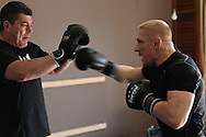 SYDNEY, AUSTRALIA, FEBRUARY 24. 2011: UFC lightweight division fighter Dennis Siver (right) trains wtih coach Nico Sulenta ahead of his fight with George Sotiropoulos at UFC 127.