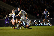 Sale Sharks stand-off Sam James looks to pass inside during the Aviva Premiership match Sale Sharks -V- Saracens at The AJ Bell Stadium, Salford, Greater Manchester, England on Friday, February 16, 2018. (Steve Flynn/Image of Sport)
