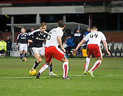 Dundee&rsquo;s Greg Stewart runs at Falkirk&rsquo;s David McCracken and Paul Watson  - Dundee v Falkirk, William Hill Scottish Cup Fourth Round at Dens Park <br /> <br />  - &copy; David Young - www.davidyoungphoto.co.uk - email: davidyoungphoto@gmail.com