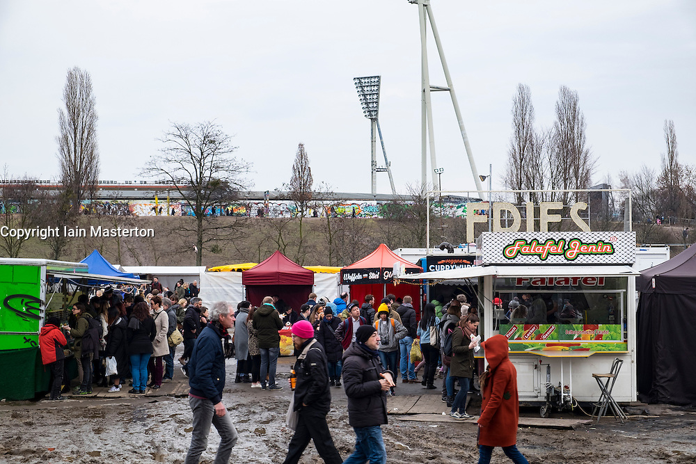 View of food stalls at Sunday market at Mauer Park in Prenzlauer Berg in Berlin, Germany